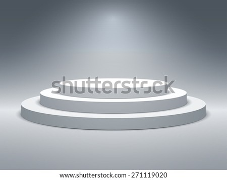 Empty illuminated podium for award ceremony. Vector illustration. - stock vector