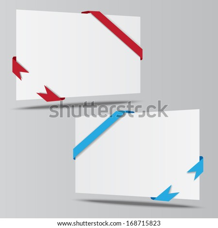 empty isometric paper sheet whith ribbons vector