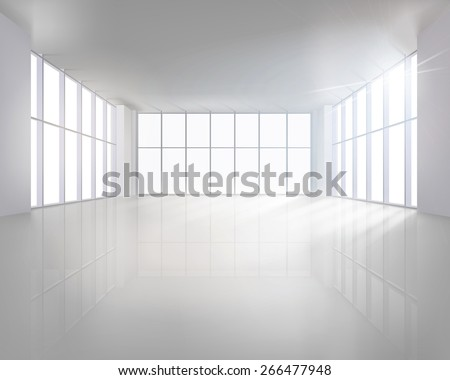 Empty large interior. Vector illustration. - stock vector