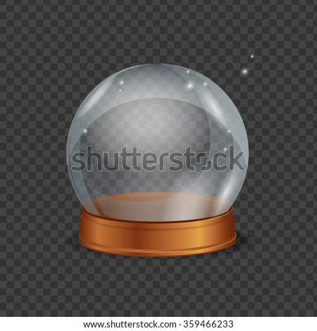 Empty Magic Crystal Ball. Transparent and Shiny. Vector illustration