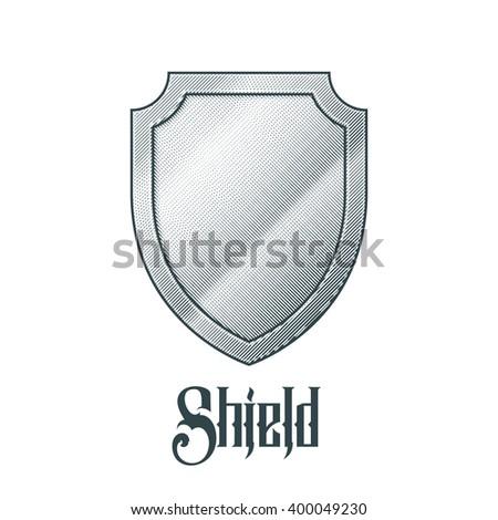 Empty metal shield - stock vector