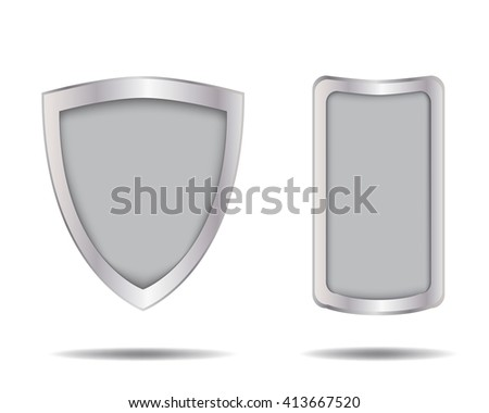 Empty metal shield and frame, vector object - stock vector