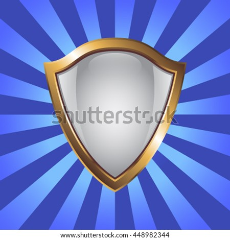 Empty metal shield icon for web isolated on - stock vector
