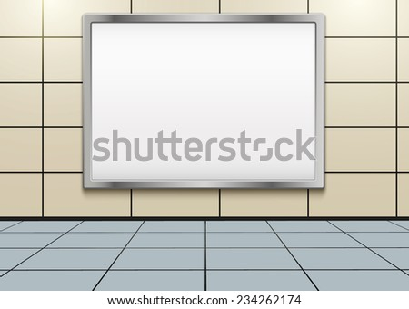 Empty mockup billboard inside metro or subway. Vector Illustration isolated on white background. - stock vector