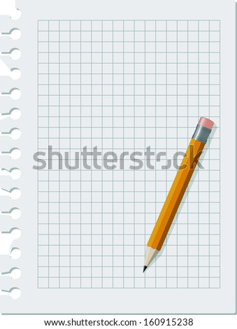 empty notebook paper sheet with pencil - stock vector