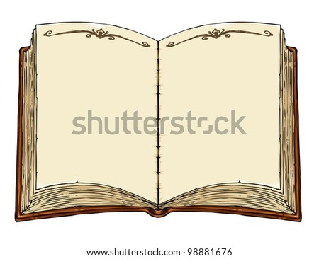 empty old book template vector cartoon stock vector royalty free