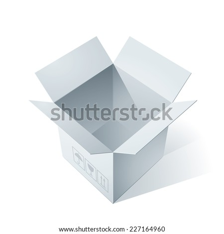Empty open cardboard box. Eps8. CMYK. Organized by layers. Global colors. Gradients used. - stock vector
