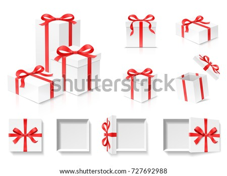 Gift empty open gift box set with red color bow knot and ribbon isolated on white background negle Images