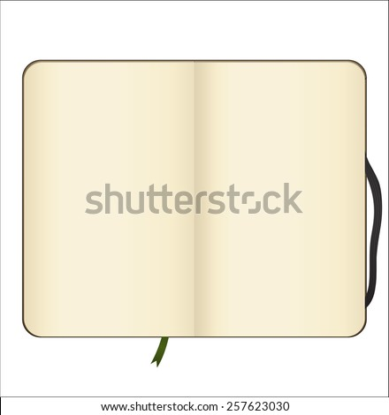 Empty open notebook on white background - stock vector