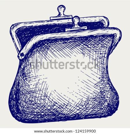 Empty open purse. Doodle style - stock vector