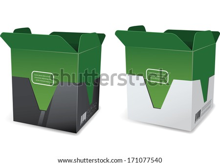 Empty package box mock-up. Vector illustration - stock vector