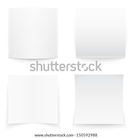 Empty paper banners on white background with soft shadows. Vector illustration. - stock vector