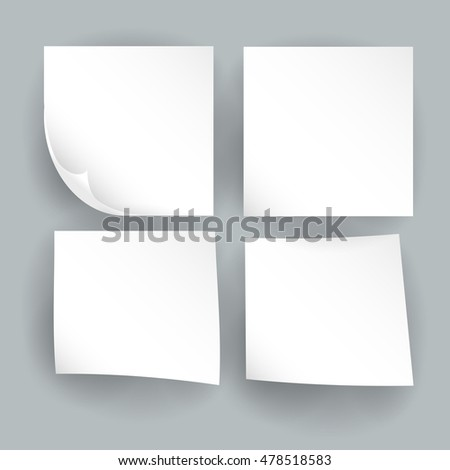 Empty paper realistic vector sheets. Paper elements and stickers. Paper sheets with shadow