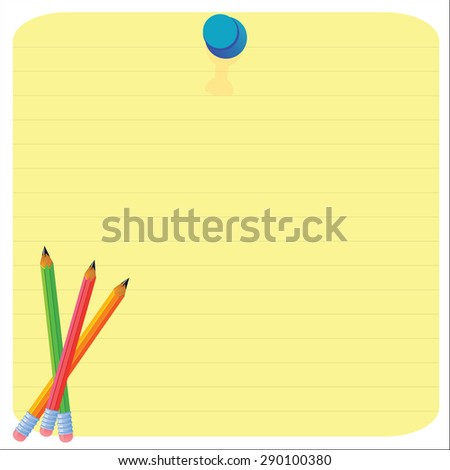 Empty paper sheet and lined notepad pages  and pencil for attaching paper Vector EPS10 - stock vector