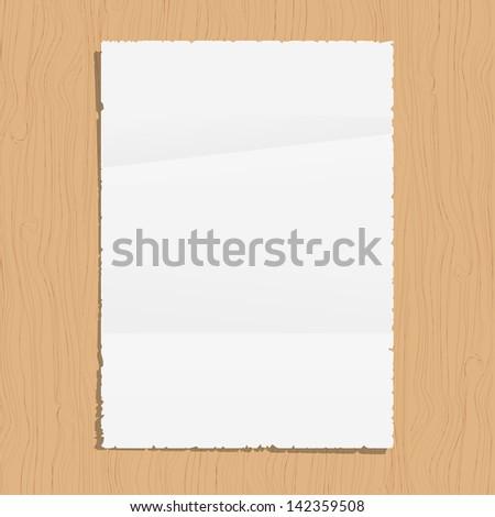 Empty paper sheet on wooden background. Vector EPS10 - stock vector