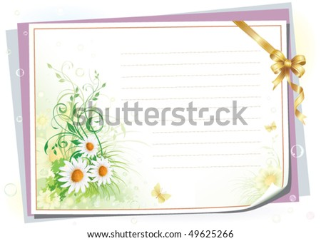 Empty paper with colorful flowers - stock vector