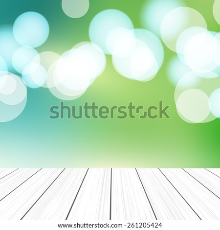Empty perspective room with sparkling bokeh wall and wooden plank floor. Template mock up for display of your product. - stock vector