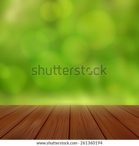 Empty perspective room with sparkling bokeh wall and wooden plank floor. Template mock up for display of your product.
