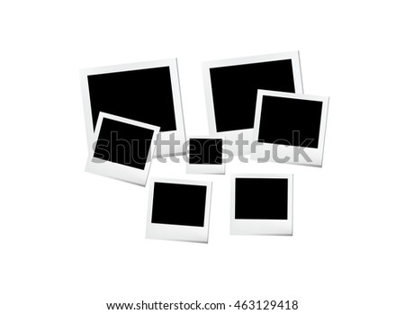 Empty photo frames on white background. Vector illustration