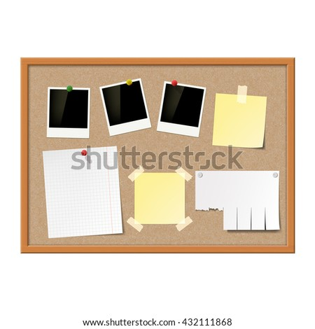 Empty photo frames, paper notes and yellow stickers attached to cork message board. Stock vector illustration. - stock vector