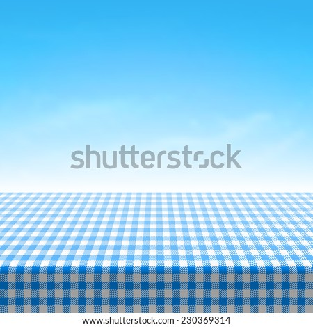 Empty picnic table covered with blue checkered tablecloth. Vector. - stock vector