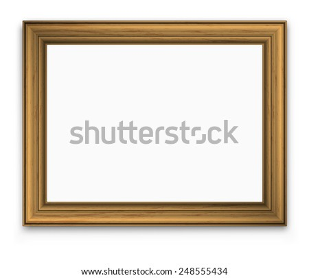 empty picture gold vintage frame with  transparent shadow, vector