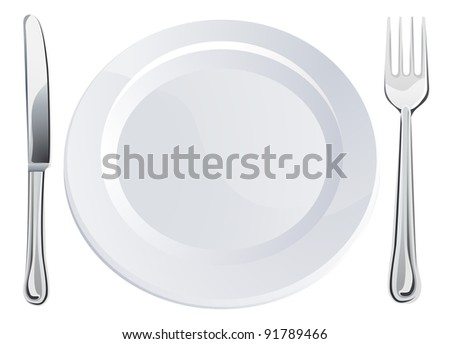 Empty plate and knife and fork cutlery place setting - stock vector