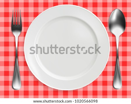 empty plate, fork and spoon on red checkered tablecloth. realistic design. vector illustration.