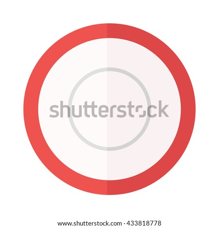 Empty plate isolated on white, round dinner dishware vector. Empty plate circle dishware and clean empty plate. Round empty white plate flat vector illustration. Kitchen shiny ceramics plate. - stock vector