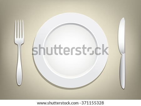 Empty plate, knife and fork on a light brown mesh background. Tableware set. Dishes for a meal. Empty template to put your food on the plate. - stock vector