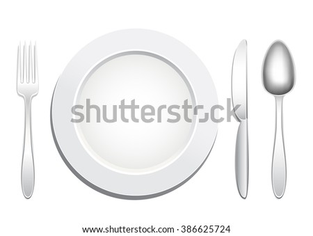 Empty plate, knife, spoon and fork on a white background. Tableware set. Dishes for a meal. Empty template to put your food on the plate. - stock vector