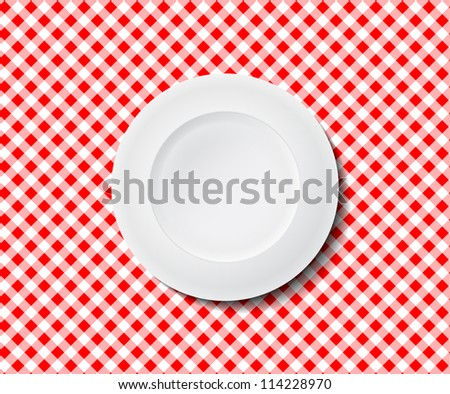 Empty plate on a red checked tablecloth ideal for placing in the background of your design. Picnic planer or food diet chart.