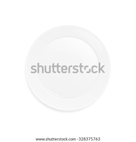 Empty plate on white background - vector illustration