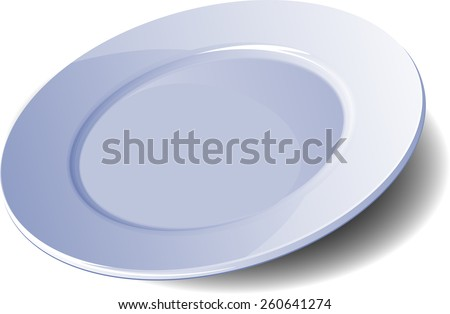Empty plate. Vector illustration on a white background. - stock vector
