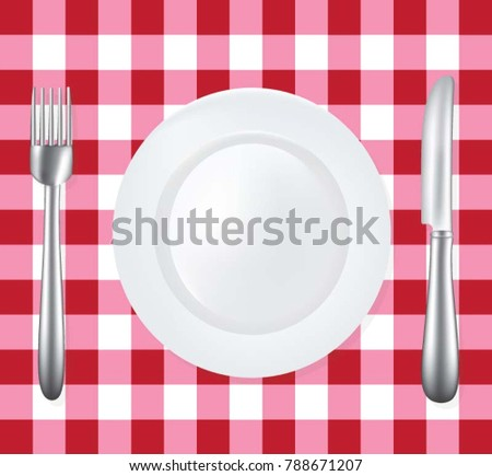 Empty plate with fork and knife on picnic tablecloth, vector