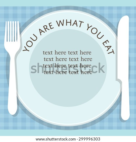 empty plate with fork and knife on stripped background banner