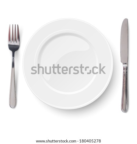 Empty plate with knife and fork isolated on a white background. View from above.
