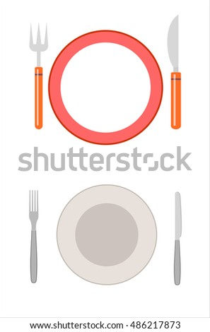 Empty plate with knife and fork isolated on white. Vector