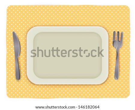Empty plate with knife and fork - Vector file EPS10