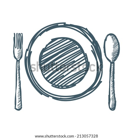 Empty plate with spoon and fork. Vector illustration - stock vector