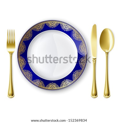 Empty plate with spoon, knife and fork on a white background. Mesh. Clipping Mask.This file contains transparency. - stock vector