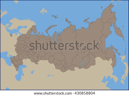 Empty Political Map of Russia