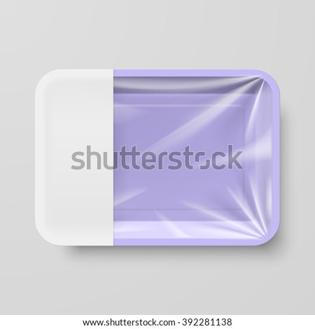 Empty Purple Plastic Food Container with Empty Label on Gray