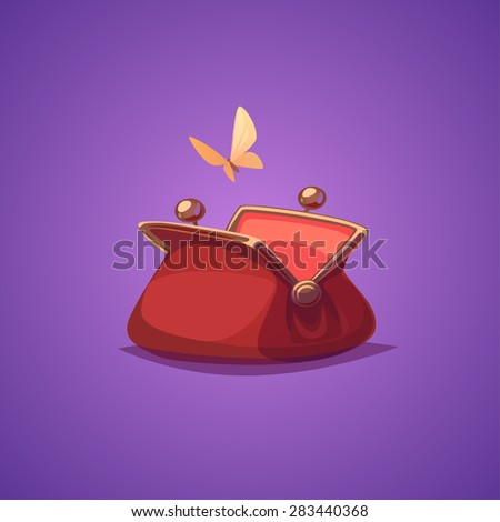 Empty purse. Isolated object \ background. - stock vector
