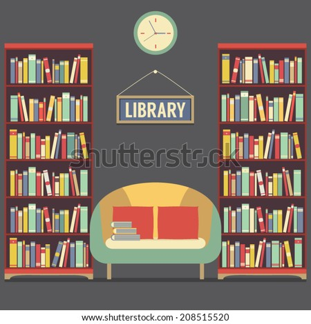 Empty Reading Seat In Library Vector Illustration - stock vector