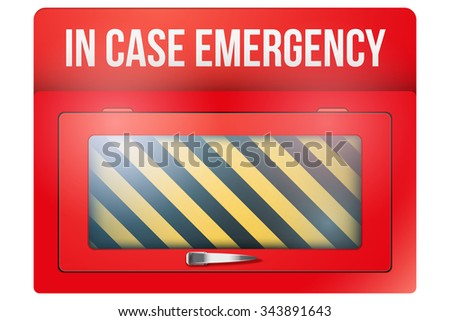 Empty red emergency box with in case of emergency breakable glass. Vector illustration Isolated on white background. Emergency case, emergency box, paramedic box, briefcase, firstaid.