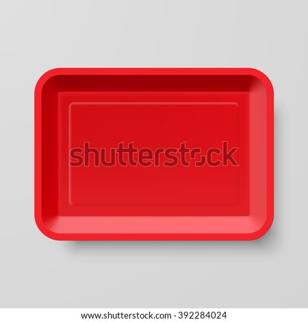 Empty Red Plastic Food Container on Gray Background