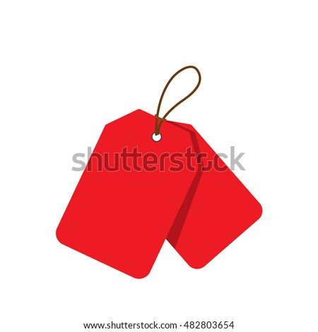 Empty red sale price tags set. Vector illustration.