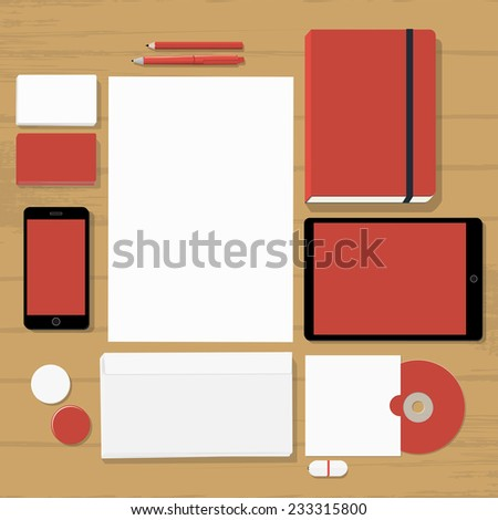 Empty red stationary set on wooden background (business cards, letterhead, envelope, notepad, phone, tablet, badge, cd, flash drive) - stock vector