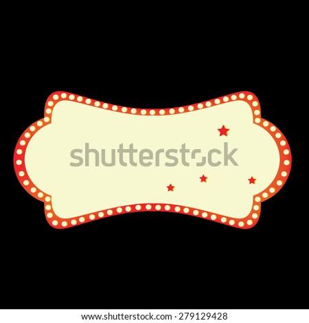 Empty retro cinema billboard vector on black background. Cinema neon sign - stock vector